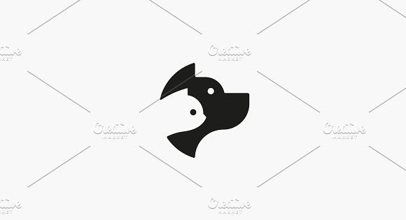 Dog and cat negative space logo design. Pet store logotype. Pet vector icon symbol