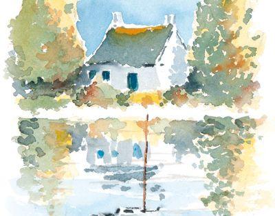 Aquarelle maison au bord de l 39 eau yvon carlo paysages for Aquarelle maison