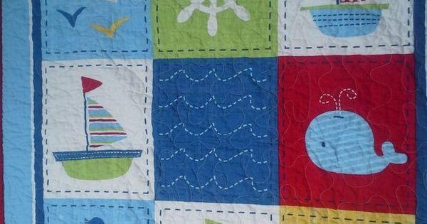 Crib Quilt Baby Boy Crib Ships Ahoy Nautical Crib Read to ...
