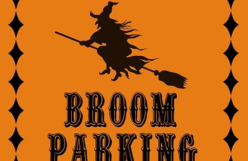 Broom parking Halloween sign