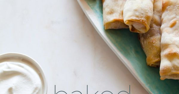 Baked apple pie egg rolls with sweetened whip cream recipe