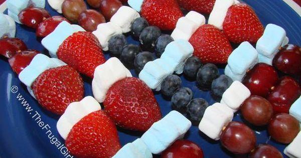 Make Fruit Kabobs (The Frugal Girls): Put seasonal shaped marshmallows in fruit