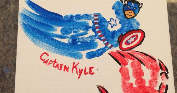 Superhero handprints crafts pinterest superhero and for Craft smart acrylic paint walmart