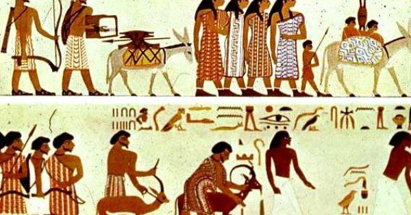Wall painting from beni hasan egypt showing nomadic for Beni hasan mural
