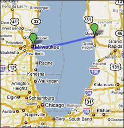lake michigan ferry routes map Lake Express High Speed Car Ferry Crossing Lake Michigan Between lake michigan ferry routes map