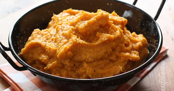 Garlic sweet potato mash from SkinnyTaste - Eat Your Books is an