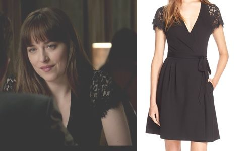 Fifty Shades Darker Ana S Black Wrap Dress With Lace Sleeves Fsd Fiftyshadesdarker 50shades Black Wrap Dress 50 Shades Fashion Dark Outfits