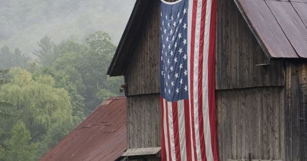 American flag on the old barn