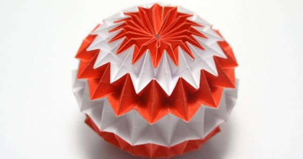 Origami Magic Ball in Orange and White