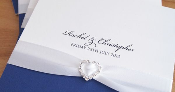 Albany Pocketfold Wedding Invitations in white and royal blue and finished with