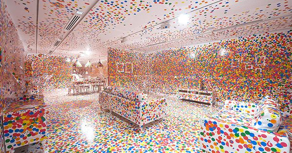 The Obliteration Room after thousands of stickers have been placed all over
