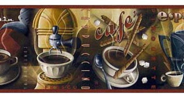Coffee House French wallpaper BORDER 1 roll kitchen