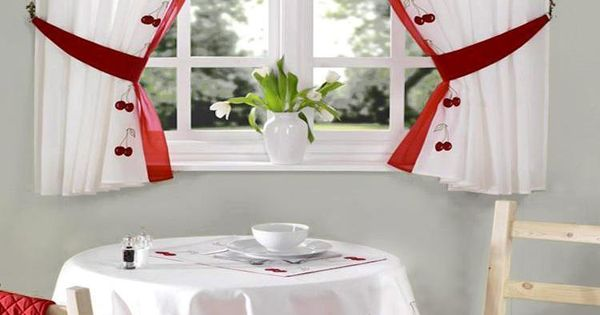 Red Amp White Cherry Embroidered Kitchen Curtain Kitchen