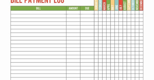 A Well Feathered Nest Printable Bill Payment Log