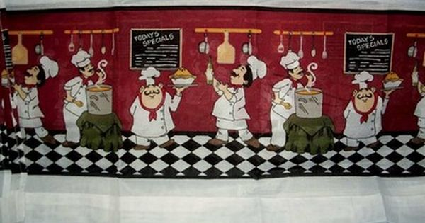 Fat chef kitchen curtain tiers valance set bistro italian for Fat chef kitchen ideas