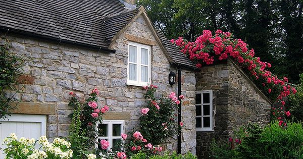 English country cottage with roses.