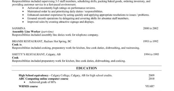 A Resume Template For A Bakery Sales Clerk. You Can