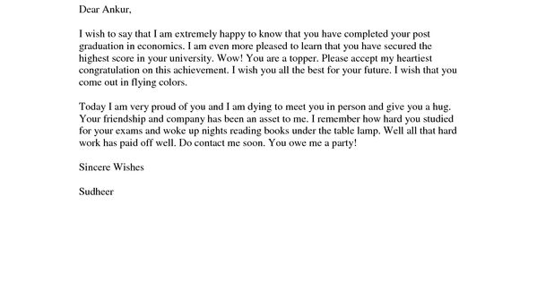 Example Of A Congratulations Letter To Send To A College