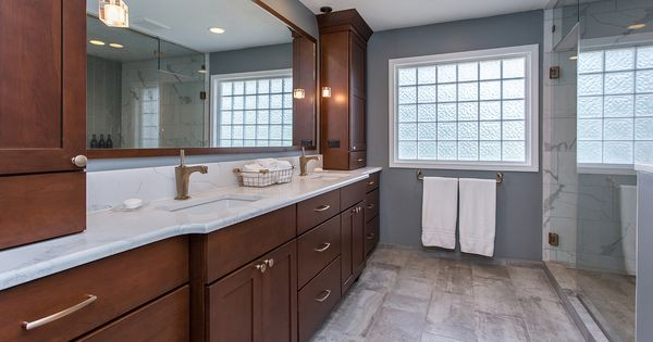 Not Only Does This Master Bath Look Luxurious With Cherry Cabinets Stained A Rich Bourbon And Cont Stained Kitchen Cabinets Home Remodeling Staining Cabinets
