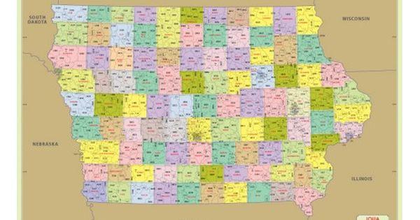 Buy Iowa Zip Code Map With Counties With Images Zip Code Map