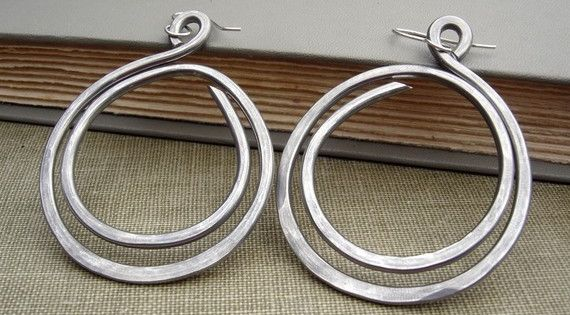 Super Big Earrings Double Hoop Loop Light Weight Aluminum Wire. $18.00, via