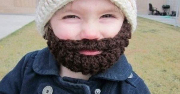 Crocheted hat with beard. Hopefully I have a son, so I can