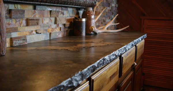 Dark Rustic Cabin Countertop With Broken Flagstone Or