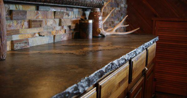 Dark Rustic Cabin Countertop With Broken Flagstone Or