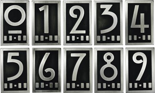 Mackintosh Numbers Craftsman House Numbers Art Deco Home House Numbers