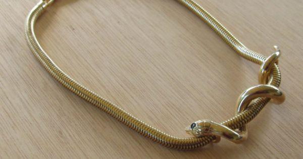 stunning givenchy gold snake choker   80s vintage designer serpent