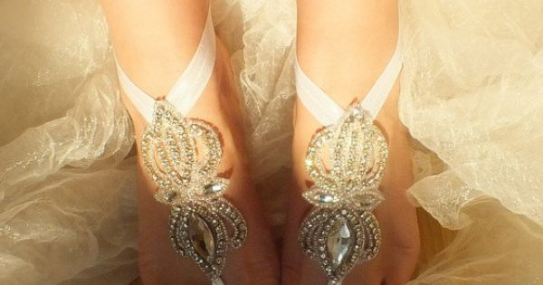 Rhinestone anklet  Beach wedding barefoot sandals by WEDDINGHome, $40.00