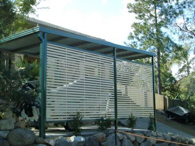 Colorbond steel carport screen with slats project board for Carport privacy screen