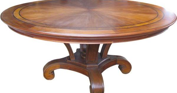 round mahogany dining table with inlay superbly made