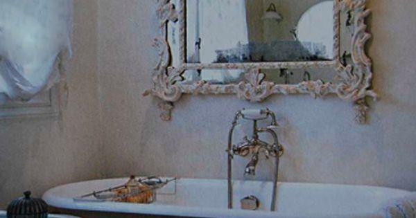 Shabby Chic Bathroom. vintage mirror clawfoot bathtub pretty