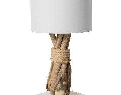 lampe de chevet galet bois flott 35cm blanche pas cher lumi re lampe poser lampe de. Black Bedroom Furniture Sets. Home Design Ideas