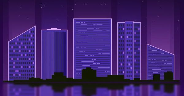Get a clean and simple illustration of a urban cityscape in the night sky lit by purple neon lights. This illustration can be used for print, apparel, greeting cards, publications and more…