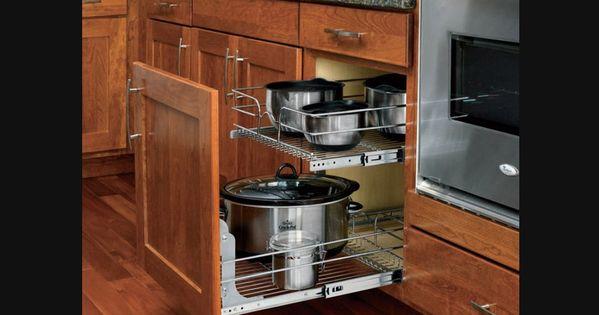 Panier coulissant double en fil chrom pour armoires de for Accessoires pour la cuisine