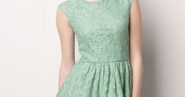 #Mint Lace Dress. dress fashion style