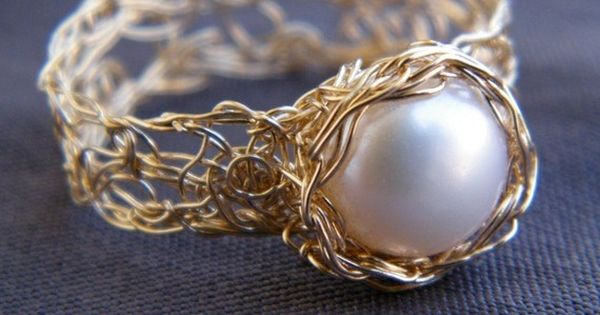 Pearl Gold Ring, Crochet Gold Filled Wire Ring