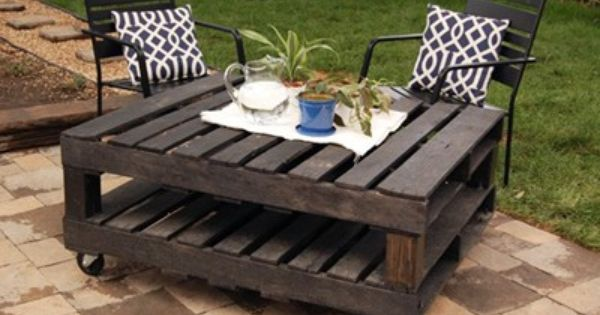 outdoor pallet table! neat idea for old pallets!