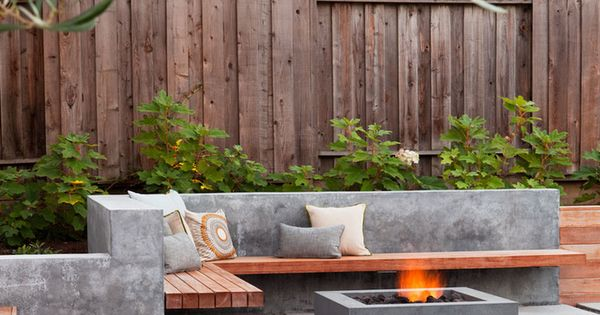 Outdoor terrace with concrete fire pit outdoor living for Fire pit on concrete slab