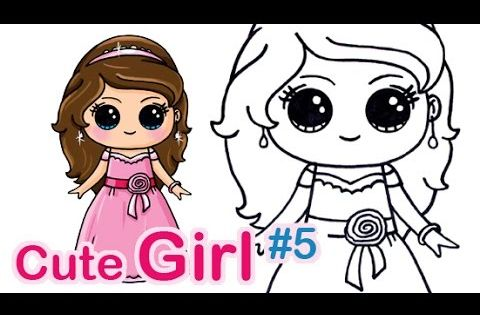 How to draw a cute girl 5 easy with pretty dress kids for How to draw a cute girl easy