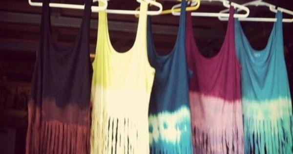 DIY Tie dye fringe tanks.