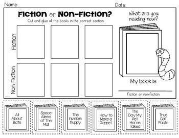 Fiction Or Non Fiction Freebie Kindergarten First Grade