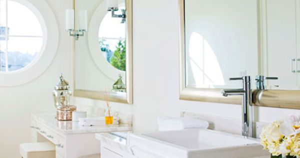 Her Bathroom With Vanity Seating Bench And Sink Area Traditional Home Markergirl Mom On The