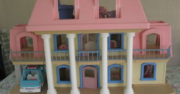 Vintage Little Tikes Grand Mansion Pink Roof Doll House W