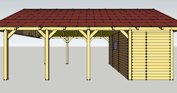 carport 6 x 8 meter mit satteldach und ger teschuppen aus. Black Bedroom Furniture Sets. Home Design Ideas