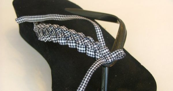 how to make ribbon-braided flip flops! Fun idea to dress up those