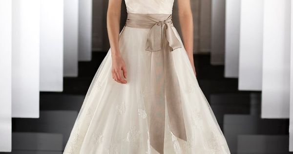 Martina Liana 437 Silk Organza wedding ball gown features a detachable lace