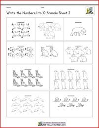 Count And Write Numbers 1 To 10 Coloring Sheet Animals Theme Kindergarten Math Worksheets Math Prep Shapes Worksheets